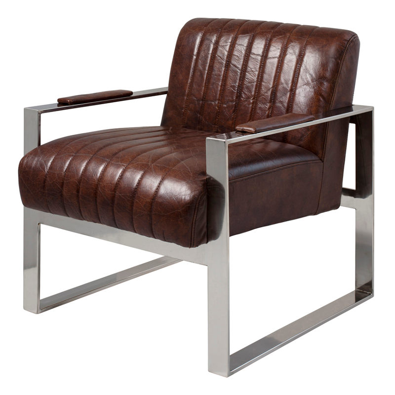 "Torino Armchair Brown Leather 23.5x29x27.5"""